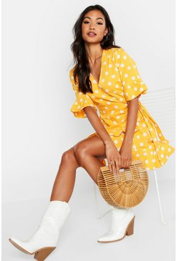 Womens Mustard Linen Woven Spot Tie Ruffle Tea Dress
