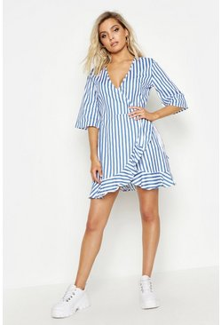 Womens Blue Woven Wrap Stripe Ruffle Tea Dress