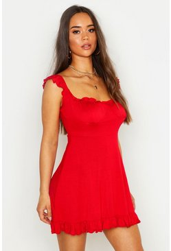 Womens Red Off The Shoulder Cupped Frill Hem Skater Dress
