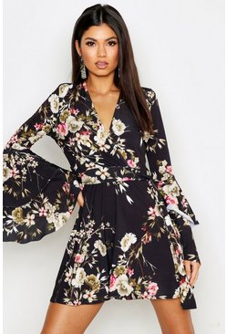 Dam Black Floral Wrap Extreme Ruffle Sleeve Skater Dress