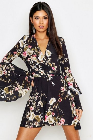 Womens Black Floral Wrap Extreme Ruffle Sleeve Skater Dress