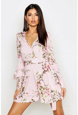 Pink Floral Wrap Extreme Ruffle Sleeve Skater Dress