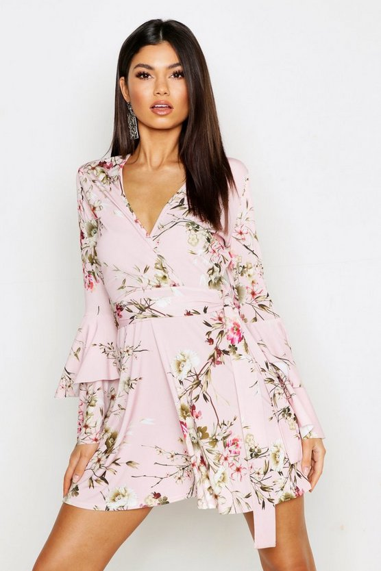 Womens Pink Floral Wrap Extreme Ruffle Sleeve Skater Dress