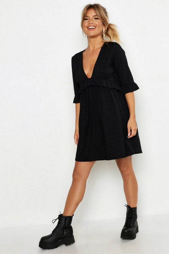 Womens Black Ribbed Ruffle Smock Dress