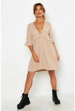 Stone Ribbed Ruffle Smock Dress