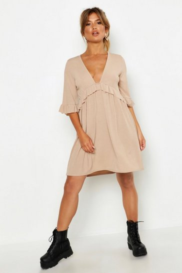 Womens Stone Ribbed Ruffle Smock Dress