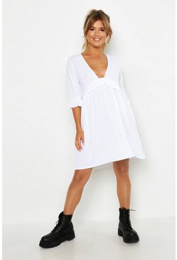 Womens White Ribbed Ruffle Smock Dress