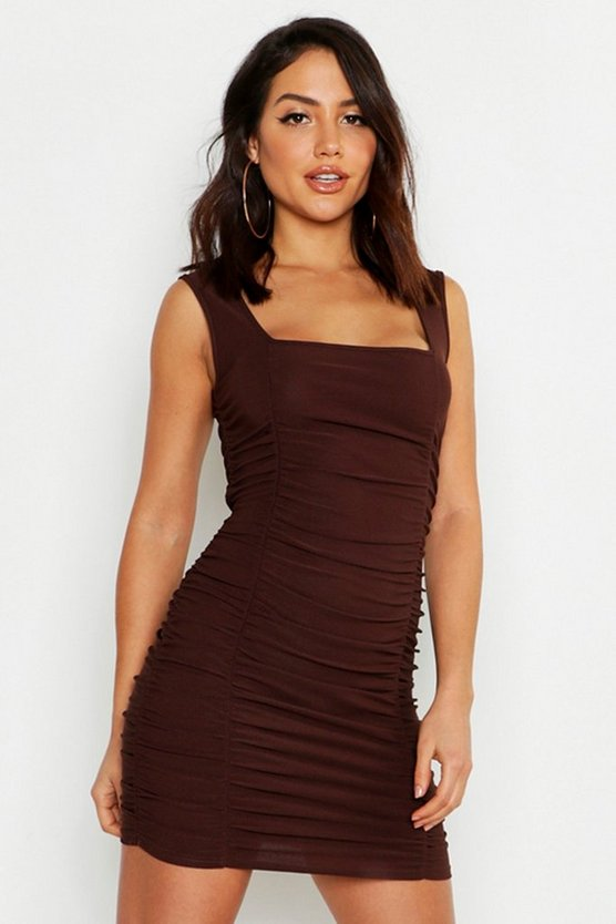 Womens Chocolate All Over Ruched Square Neck Gypsy Dress