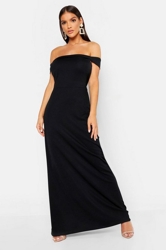 Womens Black Off The Shoulder Bardot Maxi Dress