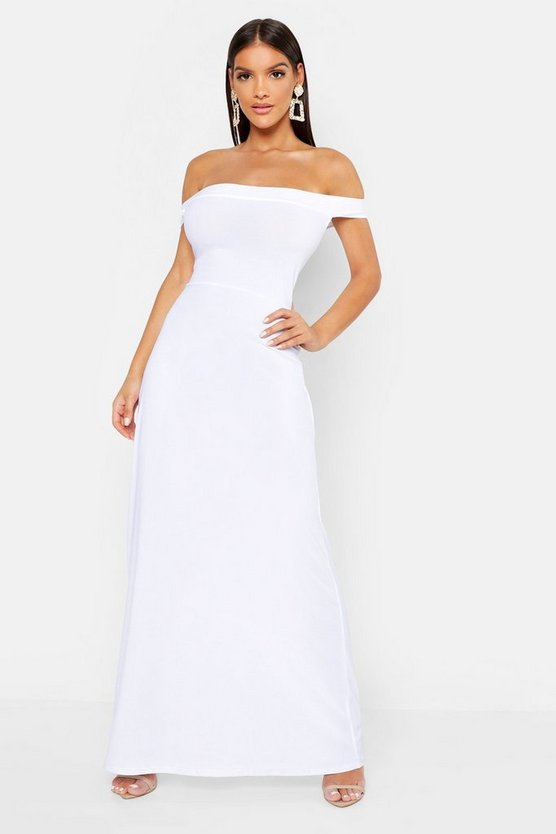 Womens White Off The Shoulder Bardot Maxi Dress
