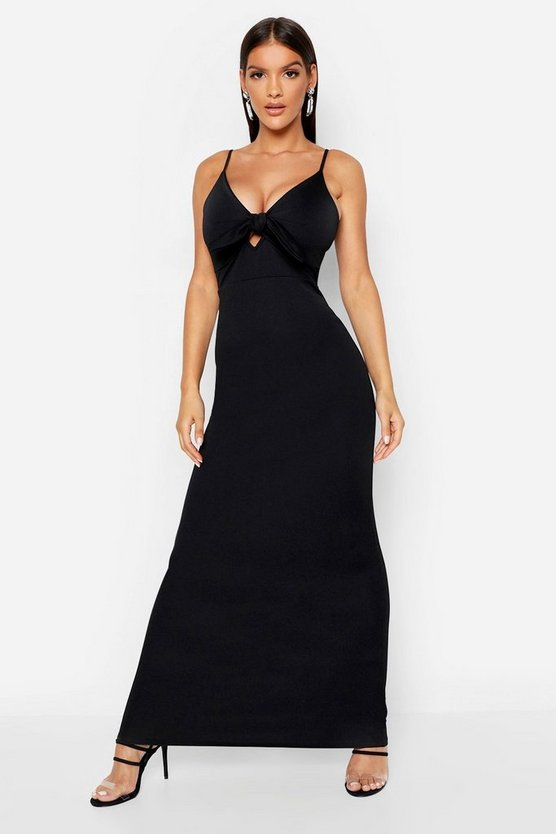 Womens Black Tie Front Crepe Maxi Dress