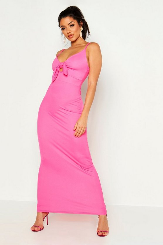 Womens Hot pink Tie Front Crepe Maxi Dress