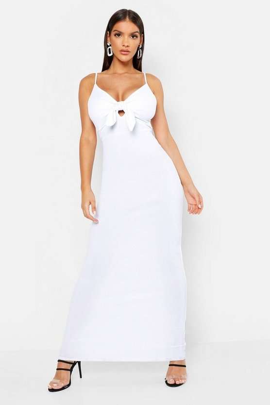 Womens White Tie Front Crepe Maxi Dress