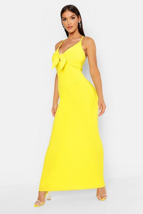Womens Yellow Tie Front Crepe Maxi Dress