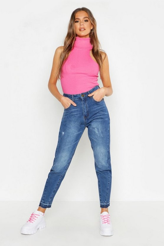 Womens Mid blue High Waist Mom Jean