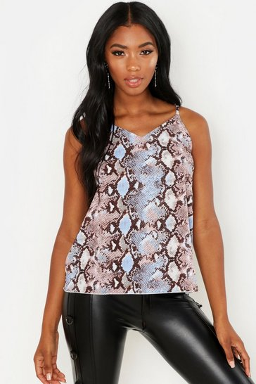 Womens Blue Woven Pastel Snake Cami