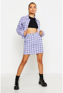 Womens Lilac Grid Detail High Waisted Mini Skirt