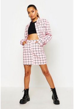 Womens Pink Grid Detail High Waisted Mini Skirt