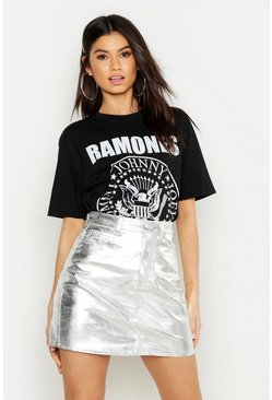 Womens Silver Metallic Denim Mini Skirt