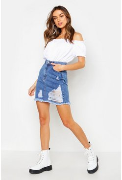 Light blue Distressed Acid Washed Denim Mini Skirt