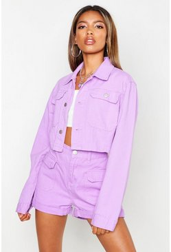 Womens Lilac Utility Pocket High Waist Mom Denim Short