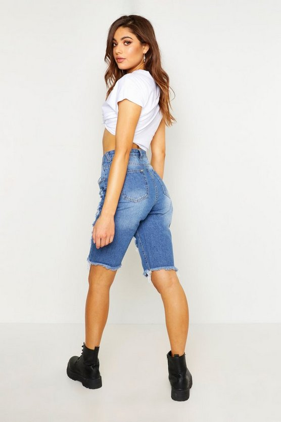 Heavy Distressed High Waisted Denim Short