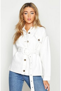 Womens White Contrast Stitch Belted Jacket