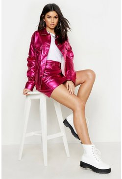 Womens Pink Metallic Oversized Denim Jacket
