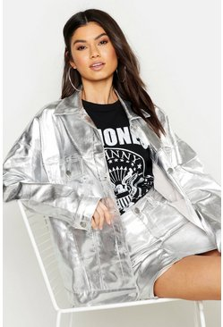 Silver Metallic Oversized Denim Jacket