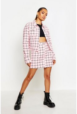 Womens Pink Oversized Grid Denim Jacket