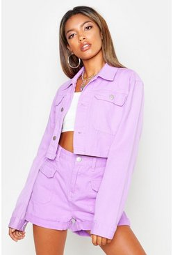 Womens Lilac Utility Cropped Denim Jacket