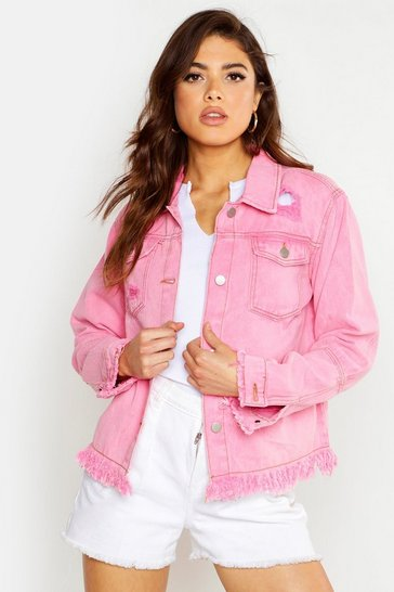 Womens Pink Acid Wash Frayed Hem Denim Jacket