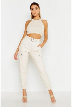 Womens Ecru Utility Pocket Belted Cuffed Denim Jogger