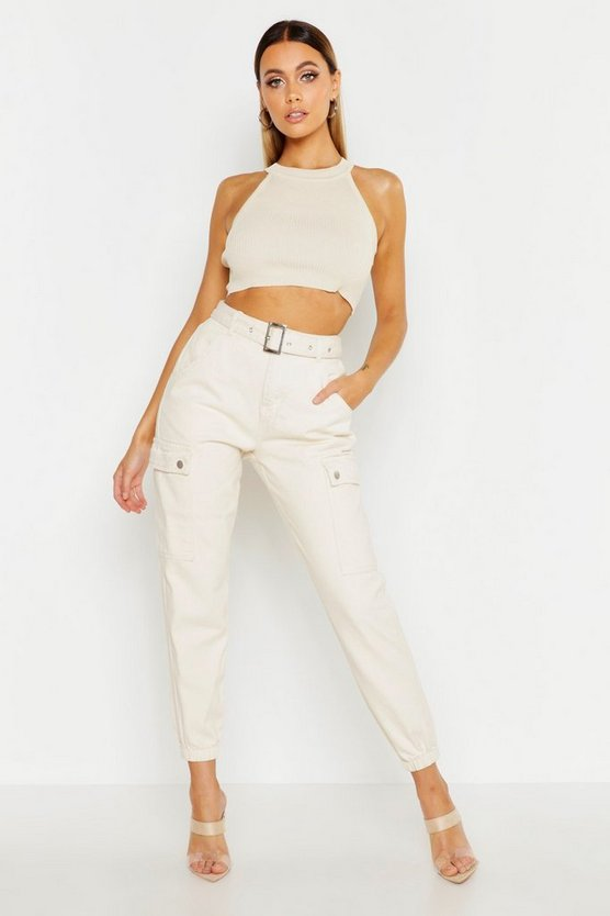 Utility Pocket Belted Cuffed Denim Jogger