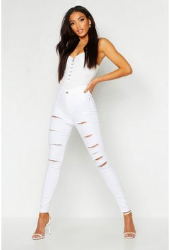 Womens White All Sizes Collection Distressed High Waist Legging