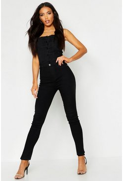 Black All sizes jeggings med hög midja