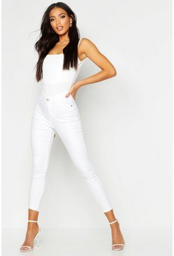 White All sizes jeggings med hög midja