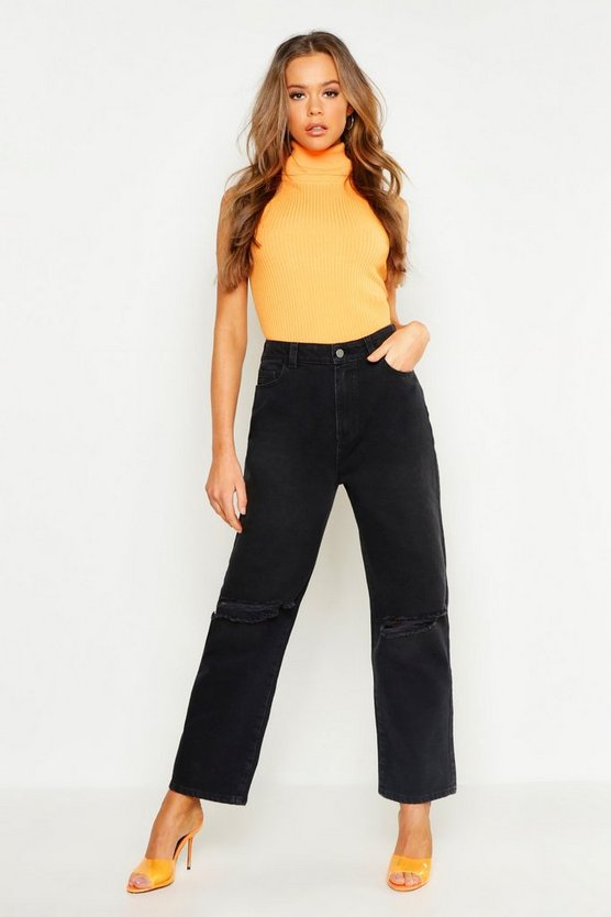 High Rise Distressed Loose Straight Leg Jean