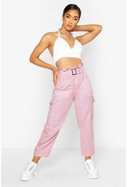 Womens Pink Acid Wash Belted Utility Jean