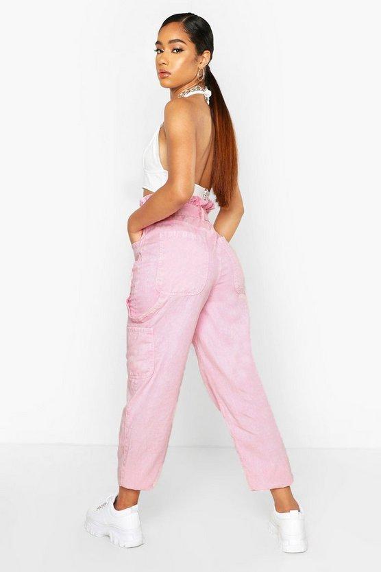 Acid Wash Belted Utility Jean