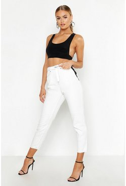 Womens Ecru Contrast Stitch Mom Jeans