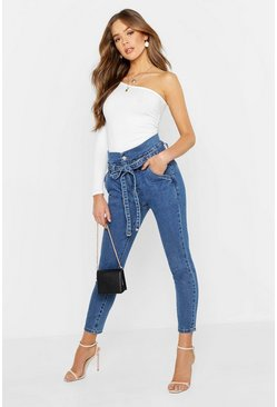 Womens Blue Paperbag High Waisted Jean