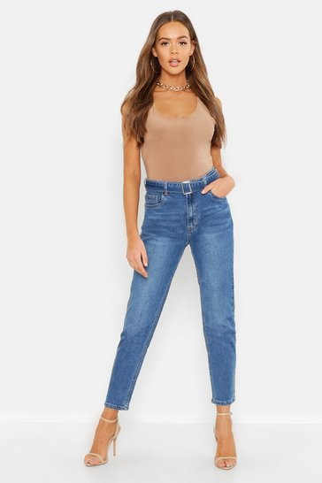 Womens Blue Belted High Waisted Mom Jean