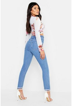 Womens Blue Paper Bag Waist O-Ring Mom Jeans