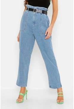 Womens Blue Belted High Waisted Mom Jeans