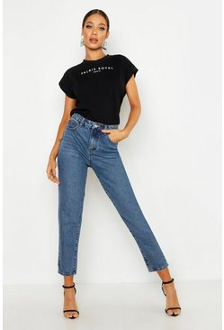 Mom jeans a vita alta, Mid blue, Femmina