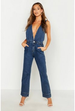 Womens Dark blue Plunge Front Denim Jumpsuit