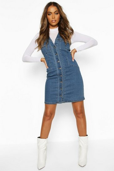 Dark blue Button Front Denim Dress