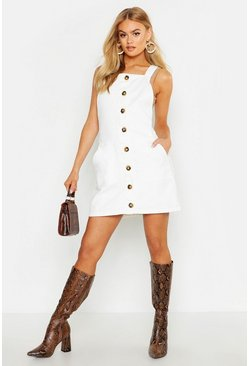 Womens White Button Front Denim Dress