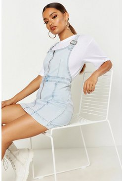 Womens Light blue Zip Front Denim Dress